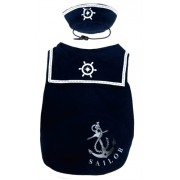 Happy Puppy Sailor Shirt Met Hoedje Blauw